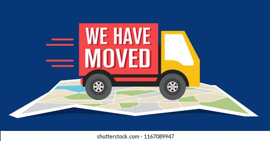 We have moved, changed address navigation, flat illustration vector