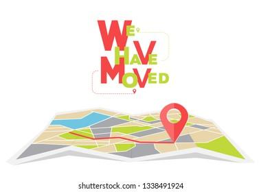 We have moved, changed address navigation, flat illustration vector
