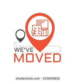 We have moved, changed address. Flat illustration.