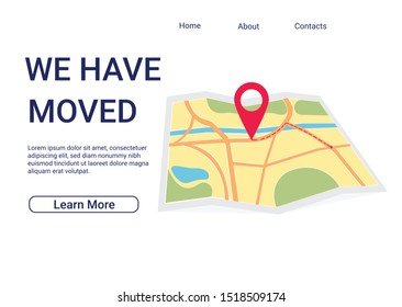 We have moved new office icon location. Address move change location announcement business home map. Vector illustration eps 10.
