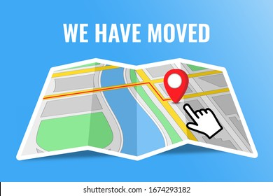 We have moved new place icon, Address changed navigation vector illustration eps 10