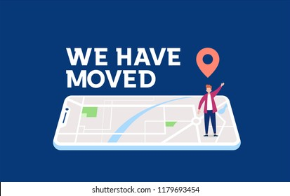 we have moved vector illustration concept, people announce change adress can use for, landing page, template, ui, web, mobile app, poster, banner, flyer