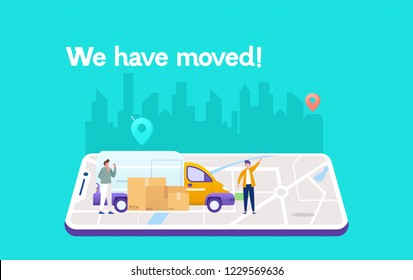 we have moved vector illustration concept, businessman carrying box cardboard from office to car , can use for, landing page, template, ui, web, mobile app, poster, banner, flyer