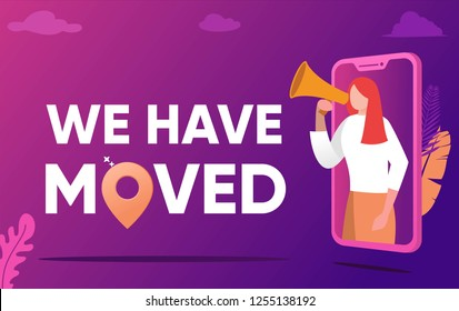 We have moved vector illustration concept, people shout on megaphone with we have moved word, change office adress ,   can use for, landing page, template, ui, web, mobile app, poster, banner, flyer