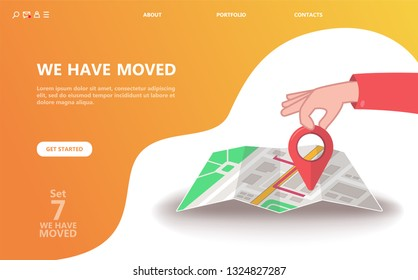 We have moved vector illustration concept. We have moved new office icon location.  Change location announcement business home map. Use for, landing page, template, ui, web, mobile app, poster, banner