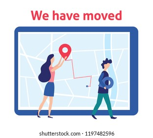 We have moved. Woman and man with labels on map. New address. Vector illustration in flat and cartoon style