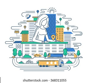 We Are Here - Illustration of vector modern line flat design location composition and infographics elements with a woman showing the direction