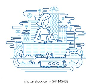 We Are Here - Illustration of vector modern simple line flat design location composition and infographics elements with a woman showing the direction