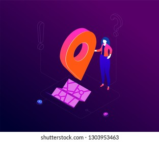 We are here - modern colorful isometric vector illustration on purple background. A composition with a woman holding a geo tag, image of a map, exclamation and question mark. Office location concept