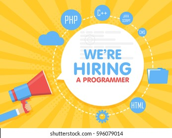 We hire a programmer. Megaphone concept vector illustration. Banner template, ads, search for employees, hiring developer or coder for work.