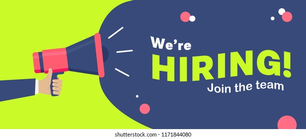 We are Hiring announcement Banner Design with Loud Speaker in flat style