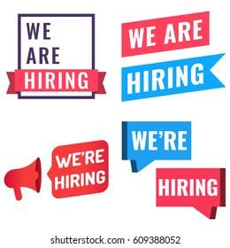 We are hiring.  Badge, logo, icon set. Flat vector illustration banner on white background.