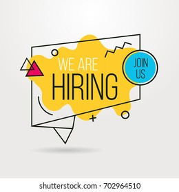 We are hiring banner outline design. Business hiring and recruiting template. Vector illustration.