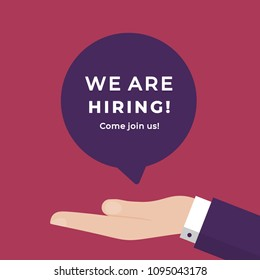 We are Hiring. Choosing Employee. Job Search. HR Job Seeking Concept. Vacancy Business Concept Vector Illustration. Symbol of Recruitment and Occupation Discovery