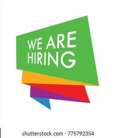 We are hiring colourful badge in vector graphics