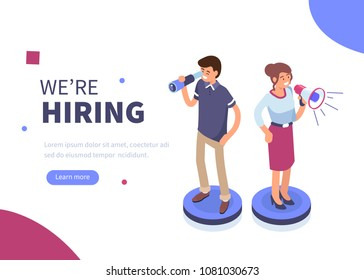 We are hiring concept banner. Can use for web banner, infographics, hero images. Flat isometric vector illustration isolated on white background.