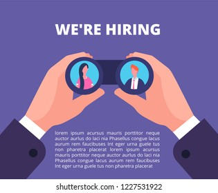 We are hiring concept. Businessman, recruiter hands holding binocular with employees in lenses. Recruiting vector poster
