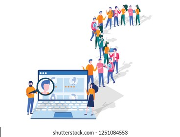 We are hiring concept, Human Resources, Recruitment for web page, banner, presentation, social media, Vector illustration filling out resumes, hiring employees, crowd of business people standing line