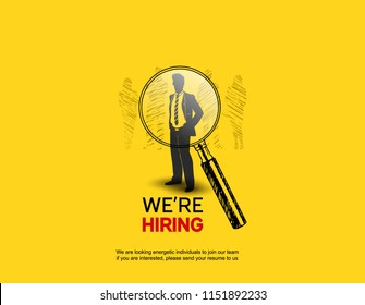 We are Hiring design with Magnifying Glass choosing businessman yellow background. Business recruiting concept hand drawing style