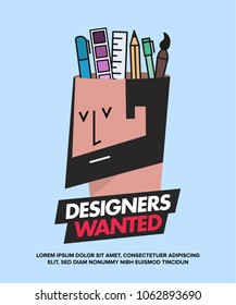 We are Hiring Designers/Creative People/Interns/Young Designers. Vector illustration of a designer and his creative tools—pencil, brush, marker, ruler, colour palette