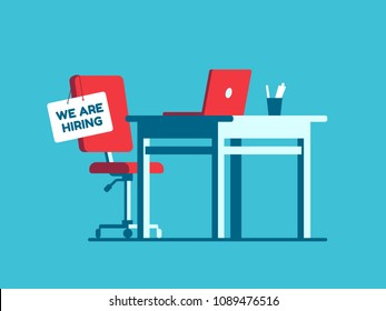 We are hiring employment sign on vacant workplace. New company executives vacancy. Empty office armchair for executive. Recruitment and people management vector concept