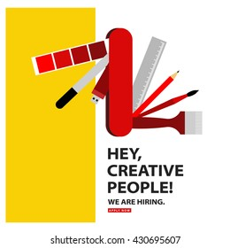 We Are Hiring (Graphic Designer Artist Swiss Knife Vector Illustration Design Concept)