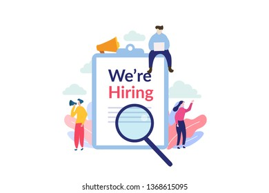 We are hiring illustration concept. Employee Recruitment with tiny people character for web landing page template, banner, flyer and presentation
