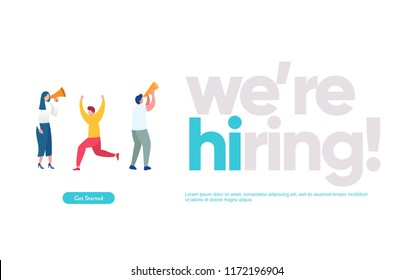 We are hiring illustration concept , Job Recruitment character, can use for, landing page, template, ui, web, mobile app, poster, banner, flyer