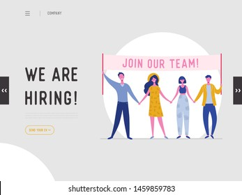 We are hiring illustration concept, job recruitment people characters holding banner, for landing page, social media template, ui, web design, mobile app, poster, flyer in vector