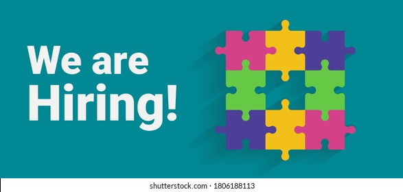 We Are Hiring. Job Advertisement With Colorful Puzzle And Text Over Turquoise Background. Vector Illustration, Panorama