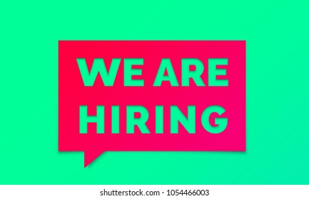 We are hiring job employee vacancy announcement banner on red green background. Vector We are hiring message chat poster for work recruitment agency design template