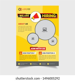 We are Hiring Job Recruitment Poster for Corporate Use .Hiring Recruitment Flyer Design Job Vacancy Advertisement Concept in red yellow