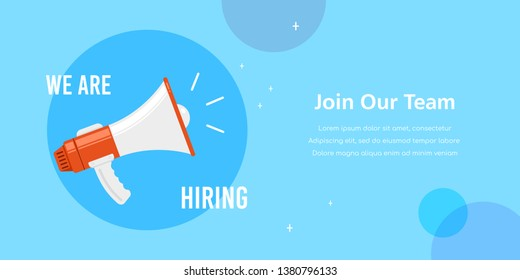 We are hiring. Job search, recruiting, human recource concept. Flat style concept banner.