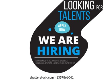 We are Hiring. Job vacancy card design. Open recruitment creative Ad. Abstract vector background