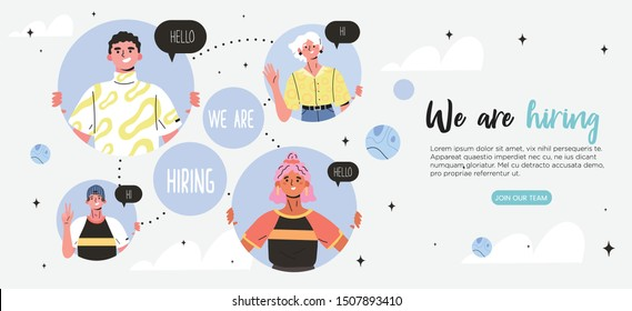 We are hiring or join our team trendy banner concept with happy smiling colleagues, coworkers or young specialists. Job recruitment or headhunting agency banner, poster, flyer or landing page.