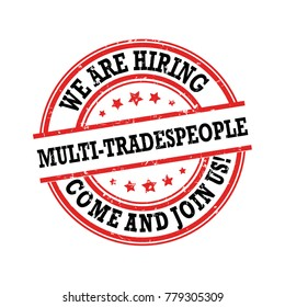 We are hiring multi-tradespeople - label for print, designed for recruitment agencies / human resources companies that are looking for construction / demolition / building workers and laborers