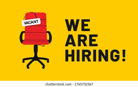 We are hiring, open vacancy. Hiring and recruitment banner design. Vacant position, join our team. Business hiring and recruiting concept. Vector