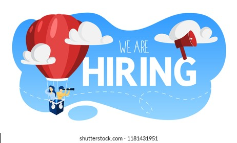 We are hiring. People on the air balloon looking for a job candidate. Idea of recruitment and headhunting. Searching for employee for business team. Flat vector illustration
