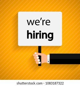 We are Hiring Poster or Banner Design. Job Vacancy Advertisement Concept on orange background.