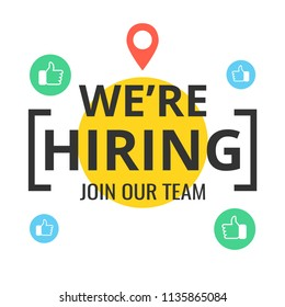 We are hiring poster or banner design. Job vacancy advertisement concept. Vector illustration.