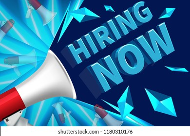 We are Hiring Poster or Banner Design. Job Vacancy Advertisement Concept on blue background. We are hiring advertising sign with megaphone