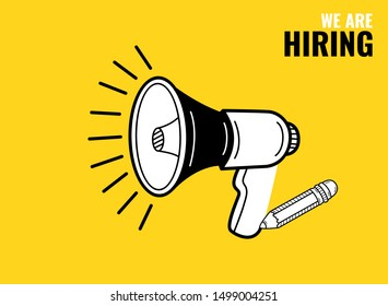 We are hiring poster or banner design. Megaphone and pencil. Hand drawn sketch. Vector illustration.