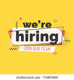 Estamos contratando el diseño de afiches o pancartas. Concepto de anuncio de empleo en el fondo amarillo.