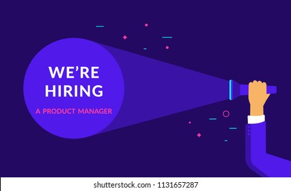 We are hiring a product manager flat vector neon illustration for ui ux web and mobile design with text copy space. Employment recruitment business concept for hr announcement and business hire