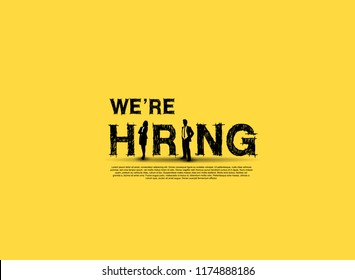 We are hiring simple design with businesswoman and businessman silhouette isolated on yellow background