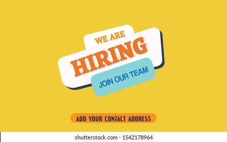 We are hiring simple design on yellow background, We are hiring social media, job circular social media post banner.  Vector flat illustration