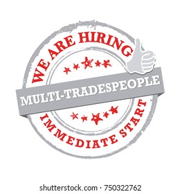 We are hiring tradespeople - printable sticker / stamp for recruitment agencies / human resources companies that are looking for construction / demolition / building workers