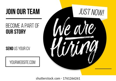 We are hiring vacancy advertisement template. Trendy job vacancy banner, poster or flyer with yellow, white and black colors. Minimalistic recruitment creative ad. Vector illustration