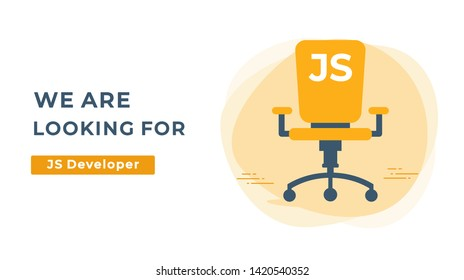 We Are Hiring Vector Concept with Empty Office Chair. Company Looking for a JS Developer Specialist. Business Hiring and Recruiting Flat Style Landscape Banner Suitable for Websites and Social Media