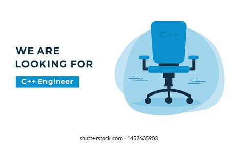 We Are Hiring Vector Concept with Empty Office Chair. Company Looking for a C++ Engineer. Business Hiring and Recruiting Flat Style Landscape Banner Suitable for Websites and Social Media